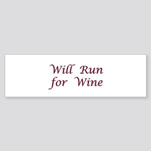 Will Run for Wine Sticker (Bumper)
