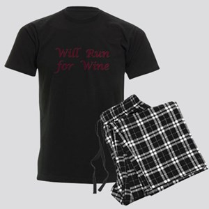 Will Run for Wine Men's Dark Pajamas