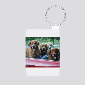 Golden Retriever Summer Drive Aluminum Photo Keych