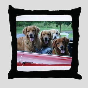 Golden Retriever Summer Drive Throw Pillow