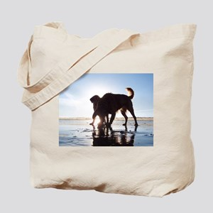 Golden Retrievers on the Beac Tote Bag