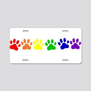 Rainbow Paws Aluminum License Plate