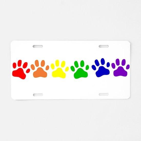 Rainbow Paws Aluminum License Plate