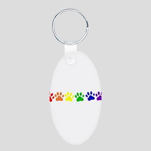 Rainbow Paws Aluminum Oval Keychain