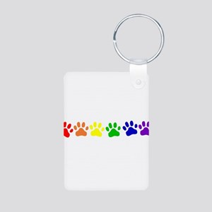 Rainbow Paws Aluminum Photo Keychain