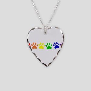 Rainbow Paws Necklace Heart Charm