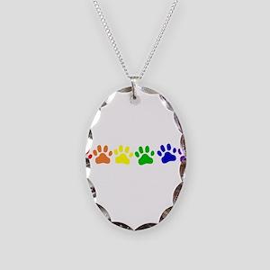 Rainbow Paws Necklace Oval Charm