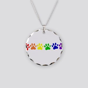 Rainbow Paws Necklace Circle Charm
