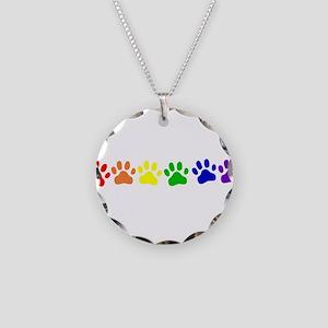 Rainbow Paws Necklace Circle Charm