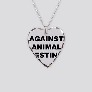 Against Animal Testing Necklace Heart Charm