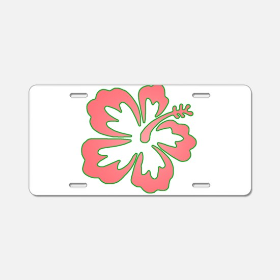 Surf Flowers (Pink and Green) Aluminum License Pla