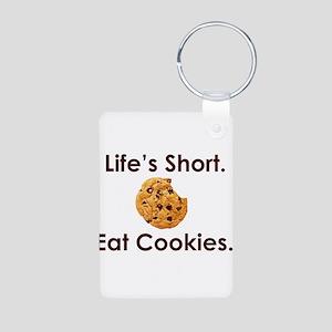 Life's Short. Eat Cookies. Aluminum Photo Keychain