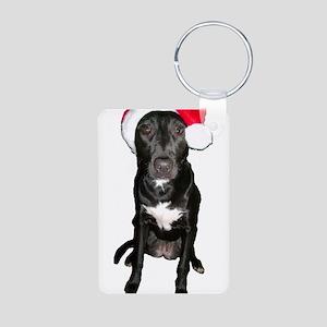 Santa Dog Aluminum Photo Keychain