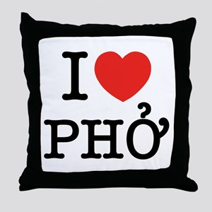 I Love (Heart) Pho Throw Pillow