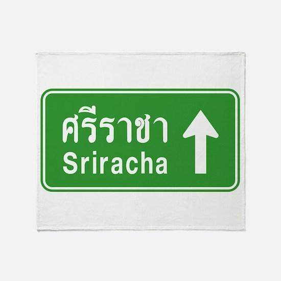 Sriracha Highway Sign Throw Blanket