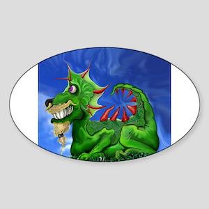 Grinning Green Dragon Sticker (Oval)