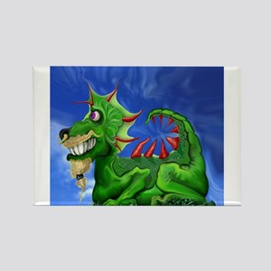 Grinning Green Dragon Rectangle Magnet