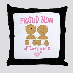 Ethnic Twin Girls Throw Pillow