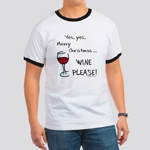 Christmas wine Ringer T