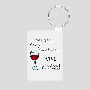 Christmas wine Aluminum Photo Keychain