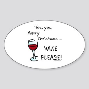 Christmas wine Sticker (Oval)
