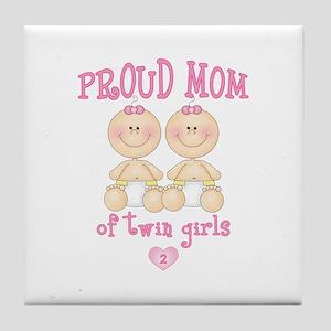 Mom Twin Girls Tile Coaster