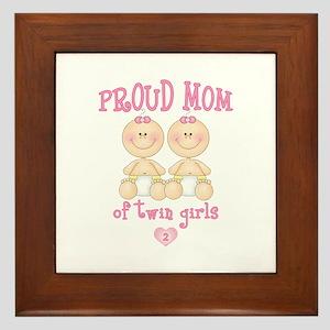 Mom Twin Girls Framed Tile