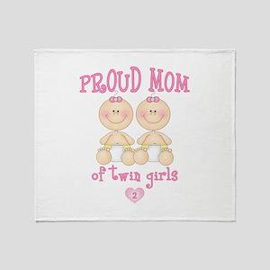 Mom Twin Girls Throw Blanket