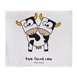 two faced cow Throw Blanket