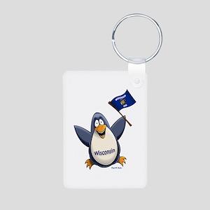 Wisconsin Penguin Aluminum Photo Keychain