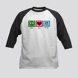 Peace Love Pit Bull Kids Baseball Jersey