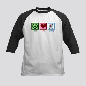 Peace Love Quilting Kids Baseball Jersey