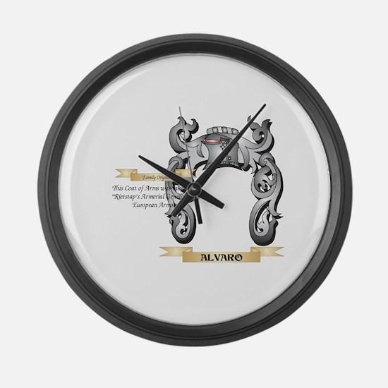 Alvaro Family Crest - Alvaro Coat Large Wall Clock