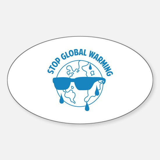 Stop Global Warming Sticker (Oval)