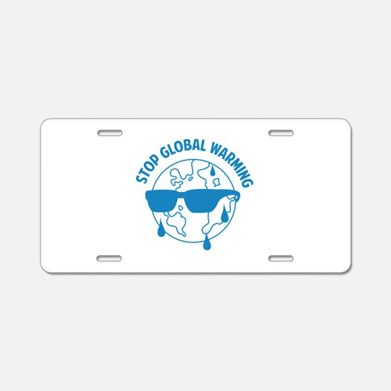 Stop Global Warming Aluminum License Plate