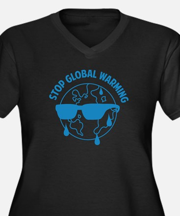 Stop Global Warming Women's Plus Size V-Neck Dark