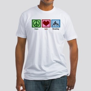Peace Love Wrestling Fitted T-Shirt