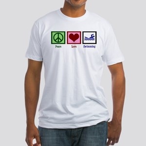 Peace Love Swimming Fitted T-Shirt
