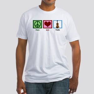 Peace Love Violin Fitted T-Shirt
