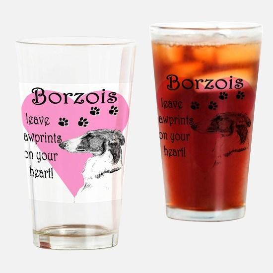 Borzoi Pawprint Heart Drinking Glass