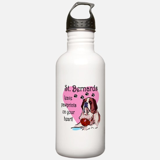 St. Bernard Pawprints Water Bottle
