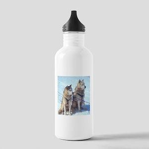 Siberian Husky Sled Pair Stainless Water Bottle 1.