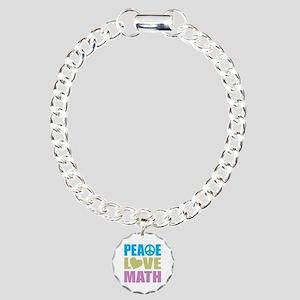 Peace Love Math Charm Bracelet, One Charm