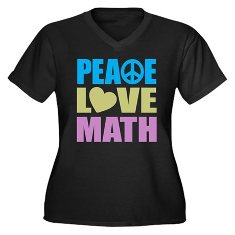 Peace Love Math Women's Plus Size V-Neck Dark T-Sh