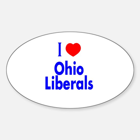 I Love (Heart) Ohio Liberals Oval Decal