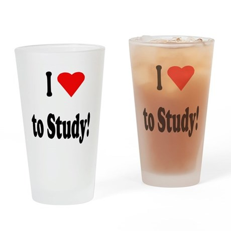 I Heart (Love) to Study Drinking Glass