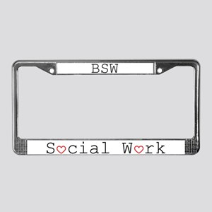 Social Work Hearts License Plate Frame-BSW