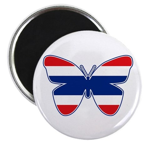 Thai Butterfly Flag Silhouette Magnet