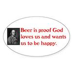 Ben Franklin: Beer Quote Sticker (Oval)