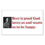 Ben Franklin: Beer Quote Sticker (Rectangle)